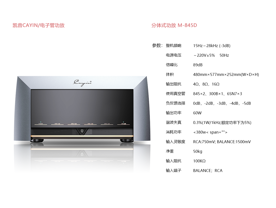 宝丽昌影音凯音CAYIN电子管功效分体式功放 M-845D